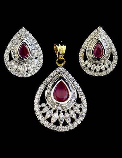Diamond Studded Pendant Set With A Maroon Stone