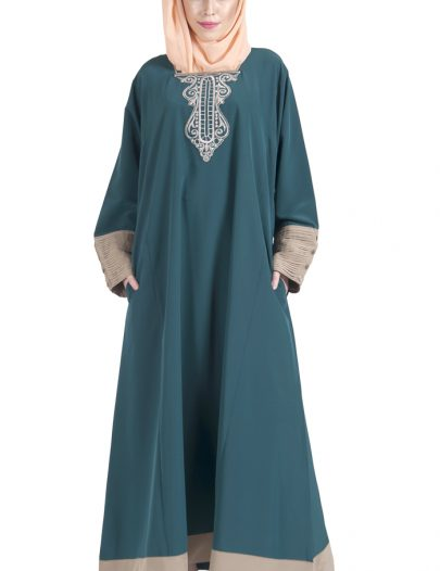 Embroidered Teal And Sand Abaya