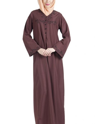 Embroidered Button Detail Abaya Brown