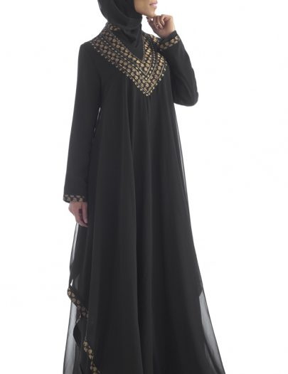 Black Sheer Georgette Abaya
