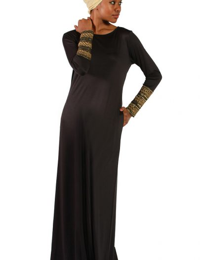 Golden Cuff Poly Knit Abaya Black