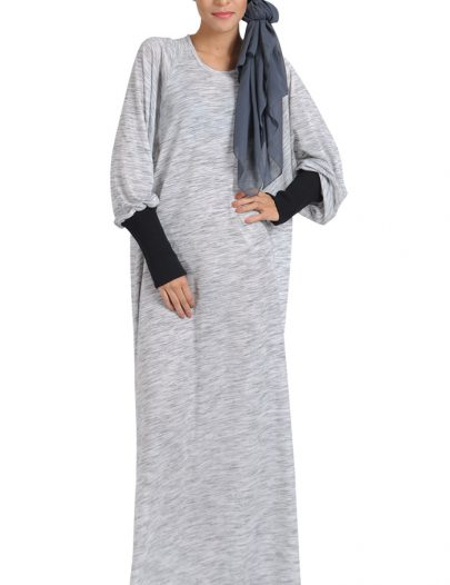 Cotton Knitted Bat-Winged Abaya Grey