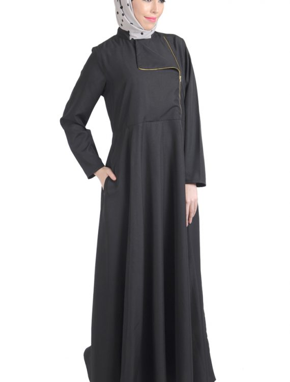 Black Flap Zipper Front Abaya