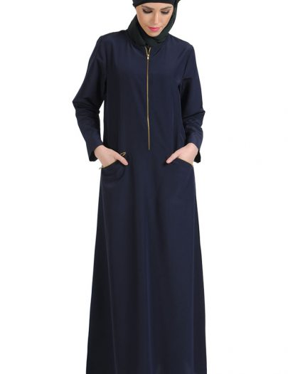 Gold Zipper Front Abaya Navy