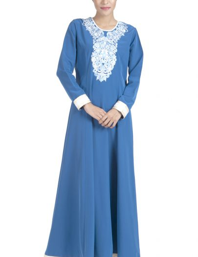Embroidered Light Blue And White Abaya Dress