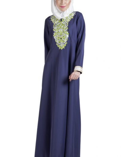 Green Embroidered Abaya Dress Black
