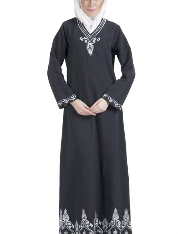 Basic Black With White Embroidery Abaya Dress Black