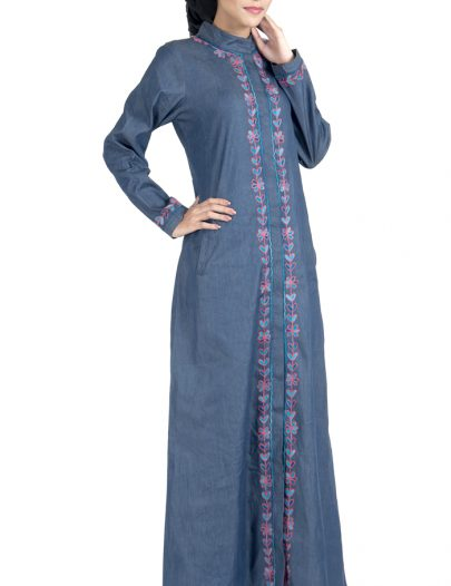 Front Open Denim Embroidered Abaya Dress Blue