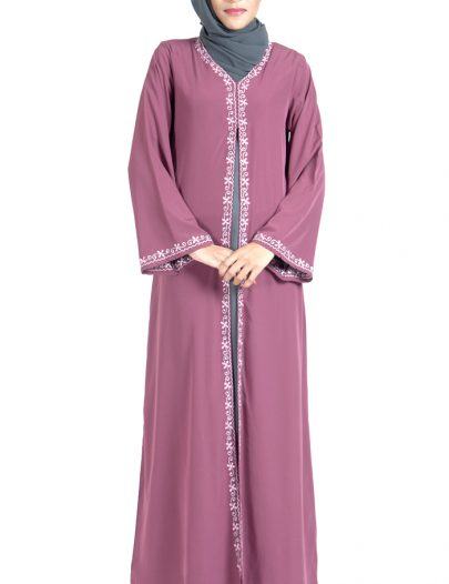 Double Layer Crepe Pink And Grey Abaya Dress