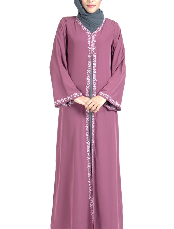 8a7863d59 Double Layer Crepe Pink And Grey Abaya Dress Shop at Discount Price ...