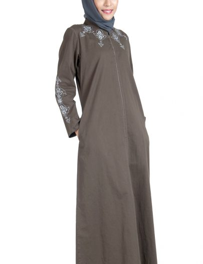 100% Cotton Twill Zipper Abaya Dress Brown