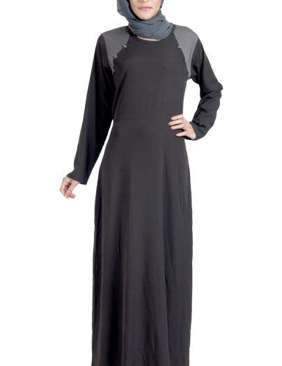 Basic Black Crepe Abaya Dress