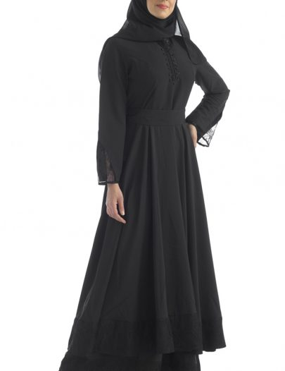 Zipper Abaya With Lace Black