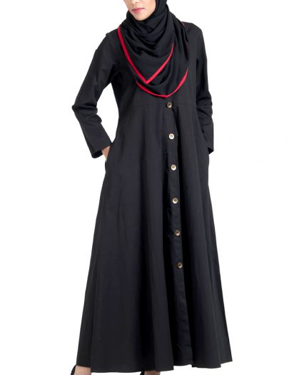 Front Open Basic Jilbab Dress With Hijab Set Black