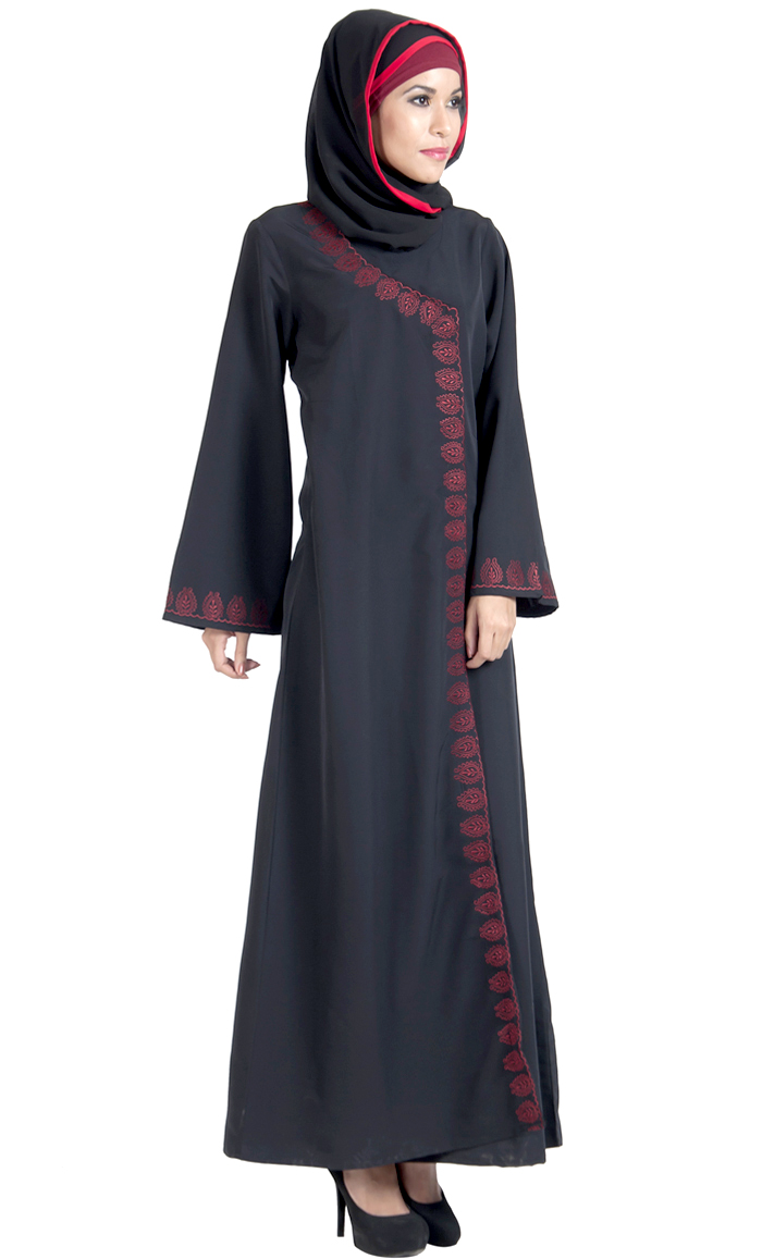 d5110905c63e Wrap Around Black And Red Abaya Dress Shop at Discount Price ...