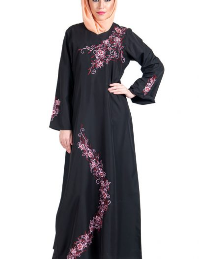 Black Kashibo With Pink And Red Embroidery Abaya Dress