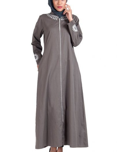 Grey Cotton Twill Full Zipper Front Open Abaya Dress