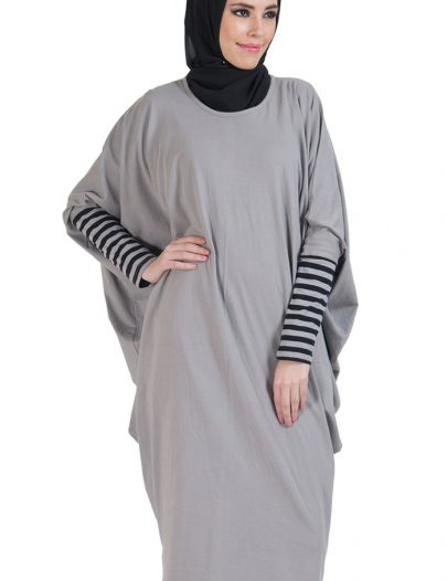 Batwing Cotton Extra Long Tunic Grey