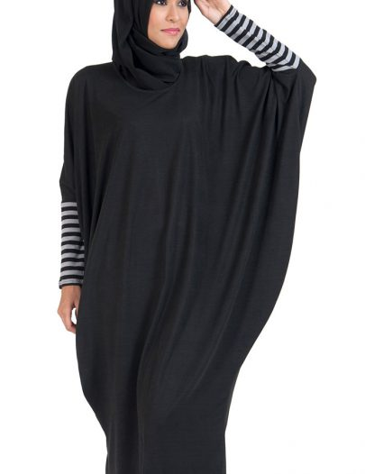 Batwing Cotton Extra Long Tunic Black