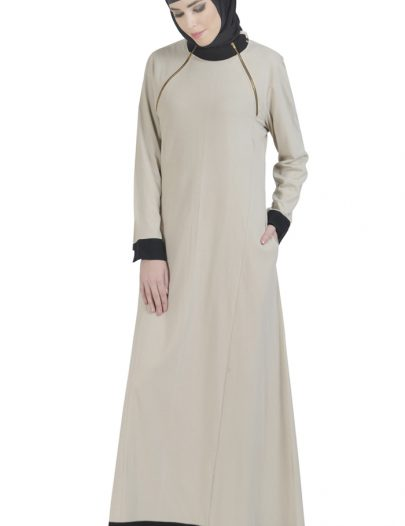 Double Zip Knitted Abaya Beige