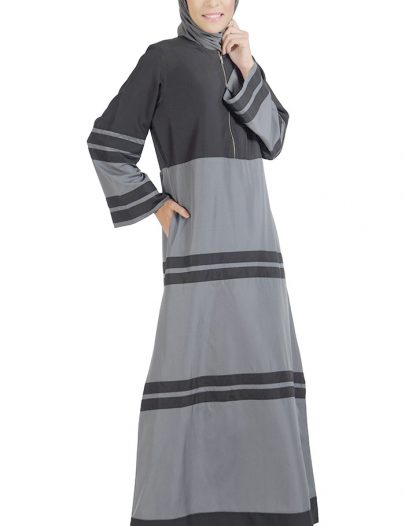 Color Block Center Zip Abaya
