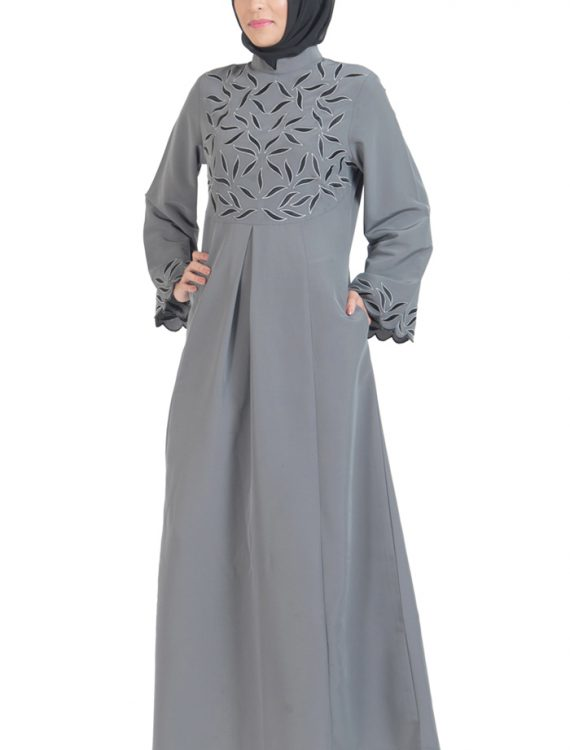 Unique Embroidered Abaya Dress Dark Grey