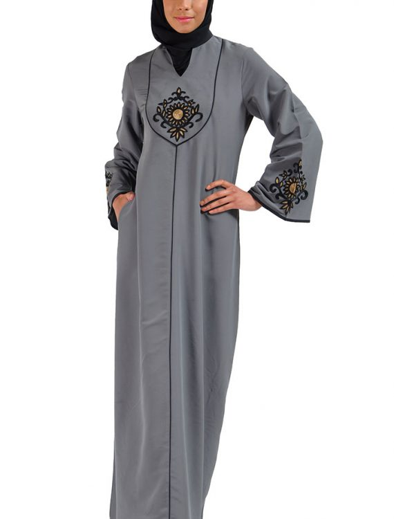 Amani Embroidered Abaya Dress Dark Grey