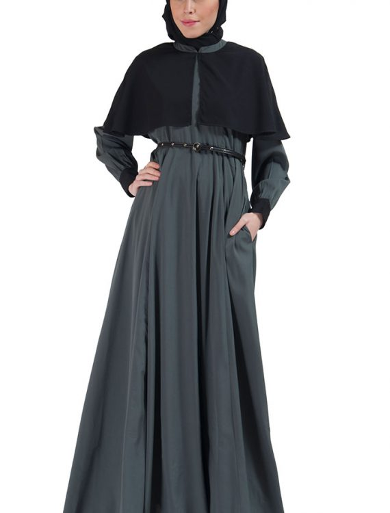 Two-Tone Belted Cape Abaya Grey