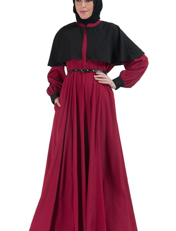 Two-Tone Belted Cape Abaya Maroon