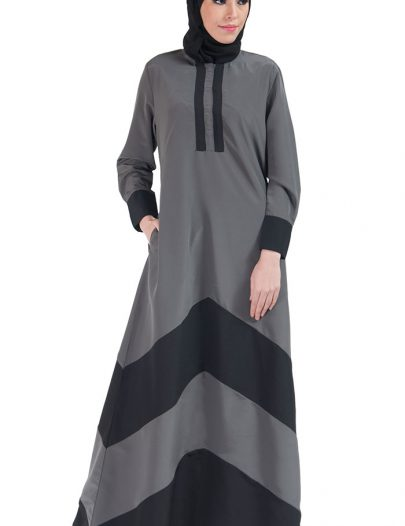 Color Block Basic Abaya Grey & Black