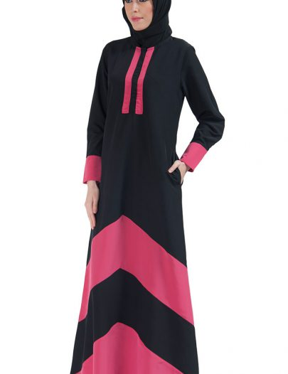 Color Block Basic Abaya Pink