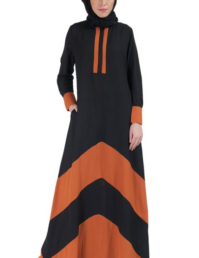 Color Block Basic Abaya Rust