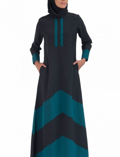 Color Block Basic Abaya Teal