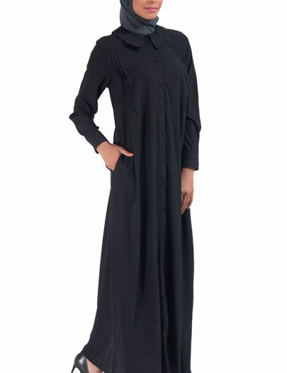 Front Open Peter Pan Collar Crepe Abaya Black