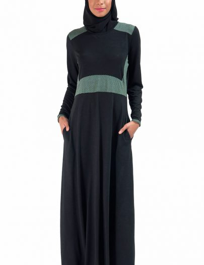 Basic Slip On Knit Abaya Dress Black
