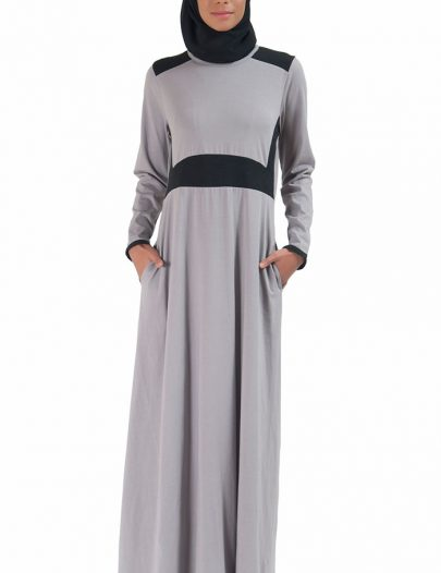 Basic Slip On Color Block Abaya Dress Grey