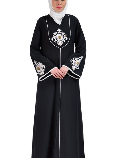 Dalia Embroidered Abaya Dress Black