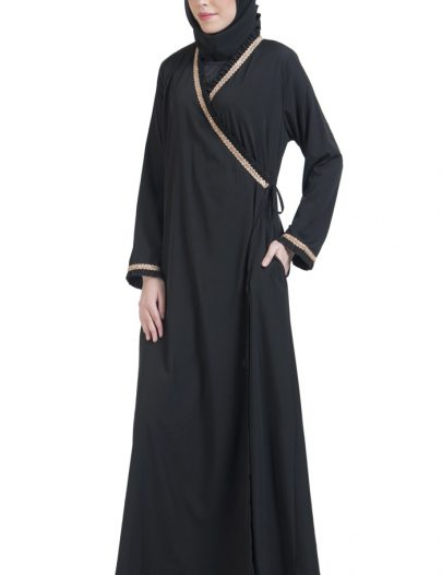 Wrap Around Everyday Abaya Black