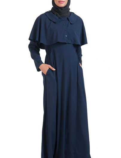 Navy Open Front Button Cape Abayas Navy
