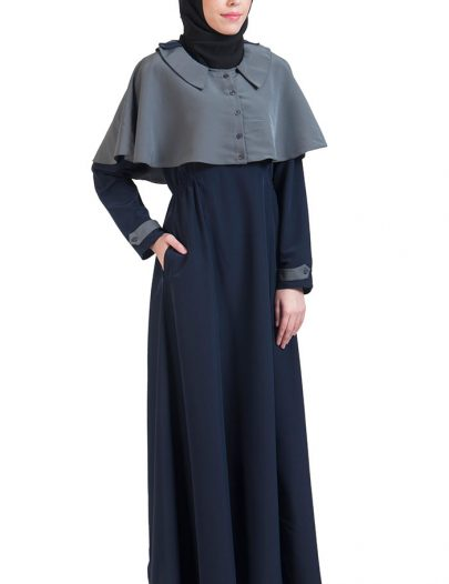Grey & Navy Open Front Cape Abayas Navy