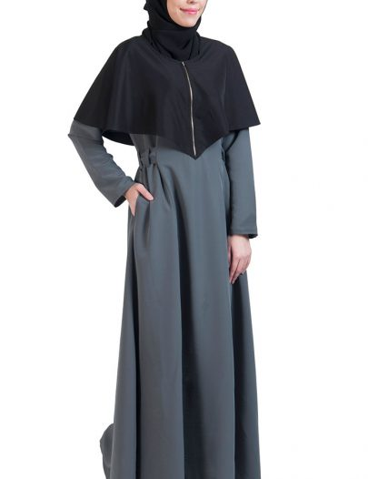 Black & Grey Open Front Cape Abayas