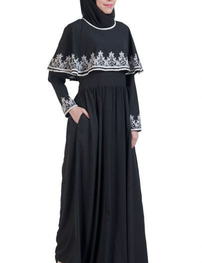 Embroidered Cape Abaya Black
