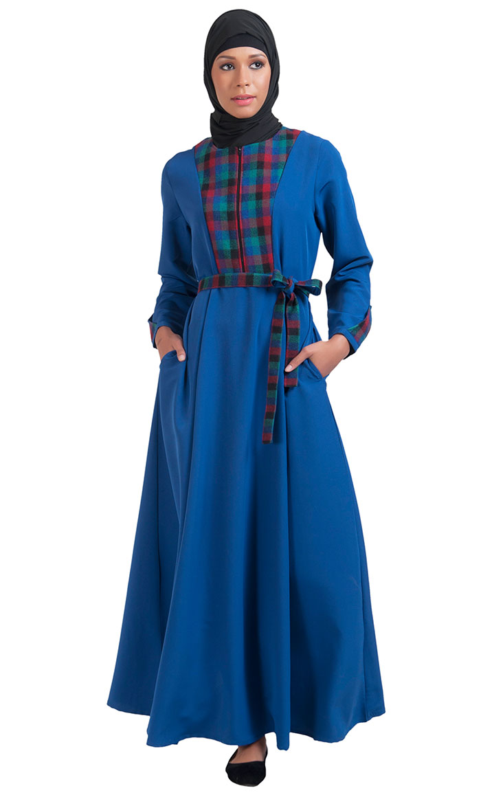 2c6e84326066eb Monaco Blue Checkered Turkish Abaya Monaco Blue Shop at Discount ...