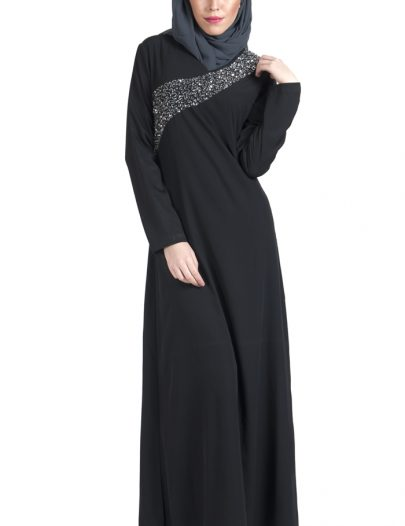 Double Layer Sequin Hand Embroidered Crepe Abaya Dress