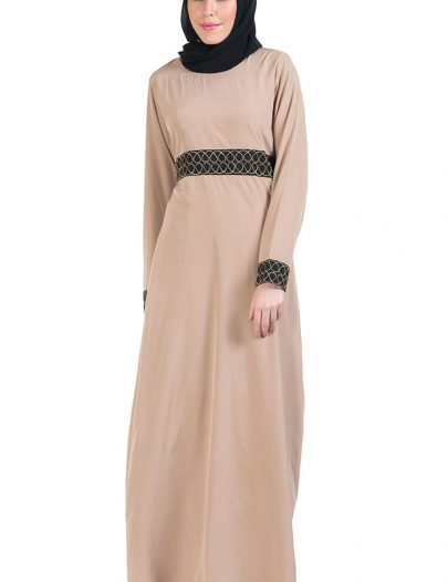 Gold Embroidered Waist Abaya Dress Black
