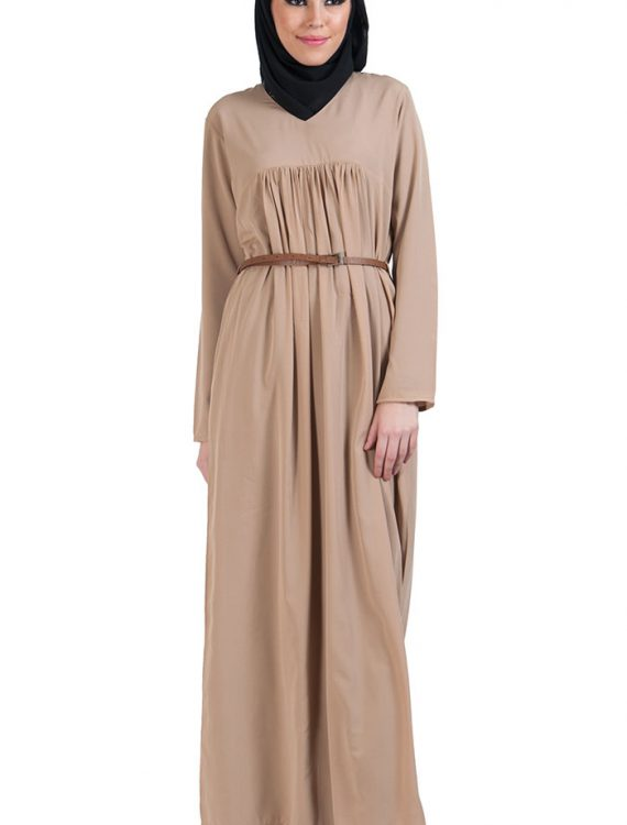Pleated V-Neck Abaya Black