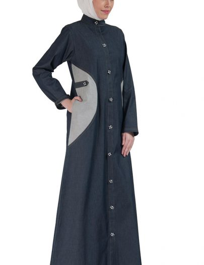 Front Open Stretch Denim Jilbab Jacket Blue