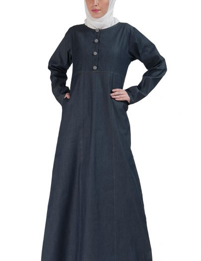 Simple Denim Pleated Abaya Blue