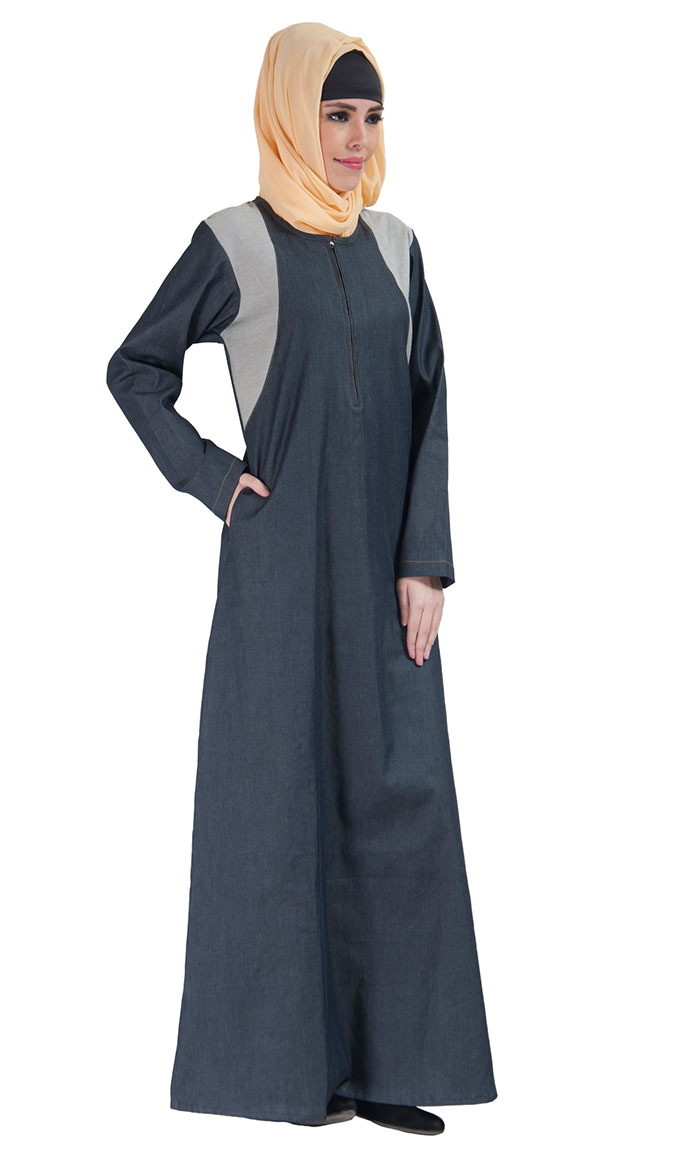 zipper front basic denim abaya blue shop at discount price