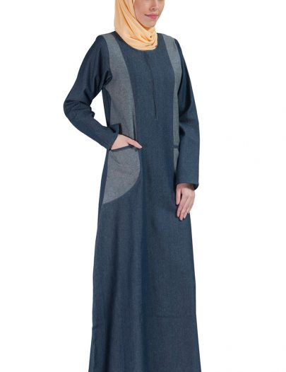 Denim Zipper Front Abaya Dress Blue